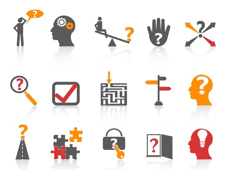 solving: isolated business problem solving icons,orange color series from white background