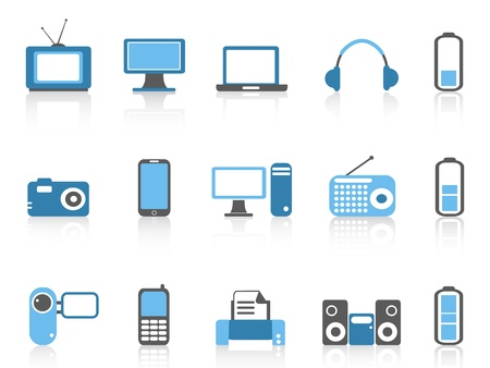 isolated simple electronic icons,blue color series from white background Vector