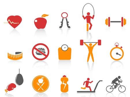 isolated simple fitness icons set,orange color series from white background