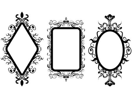 흰색 배경에 빈티지 프레임 거울의 고립 된 3 가지 shpes 일러스트