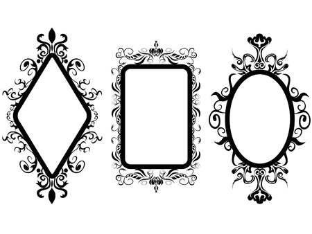 isolated 3 different shpes of vintage frame mirror on white background Ilustração