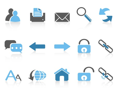 isolated blue web navigation icons on white background Stock Vector - 20707844