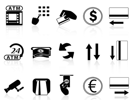 isolated atm machine and credit card icons set on white background Stock Illustratie