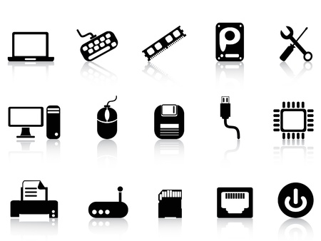 isolated Computer Hardware Icons set on white background Vector