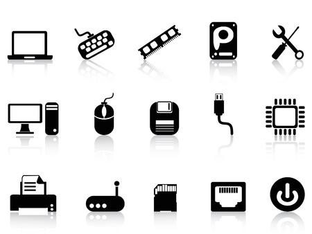 random access memory: isolated Computer Hardware Icons set on white background