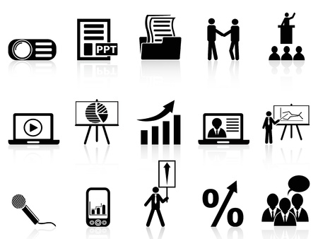 isolated business presentation icons set on white background   向量圖像