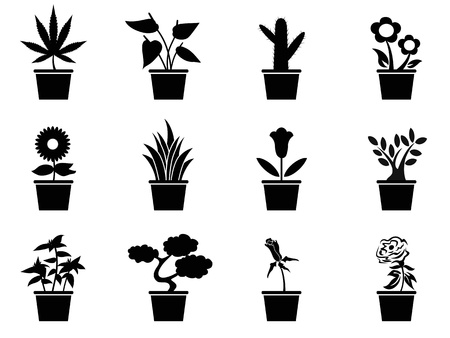 isolated black pot plants icons set from white background Vector