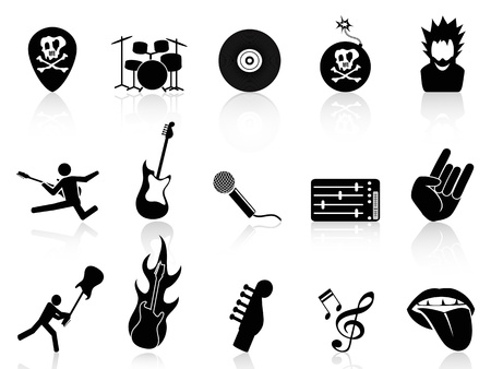 isolated rock and roll music icons on white background