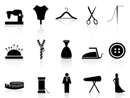 straight pin: isolated tailor icons set on white background Illustration
