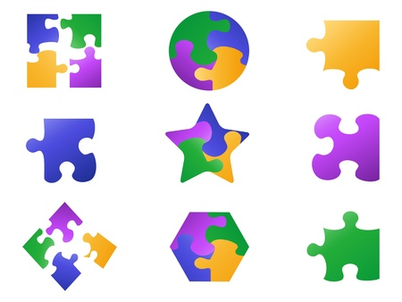isolated color jigsaw puzzle icon from white background Stock Vector - 21122544