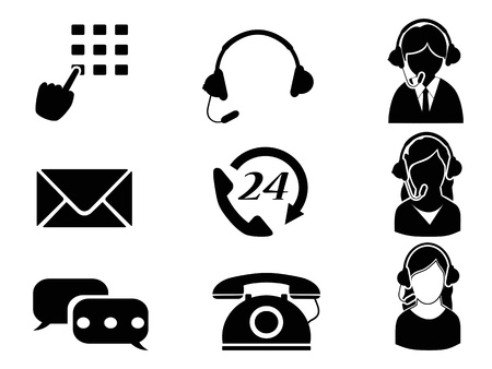 answering phone: isolated customer service icon set from white background Illustration