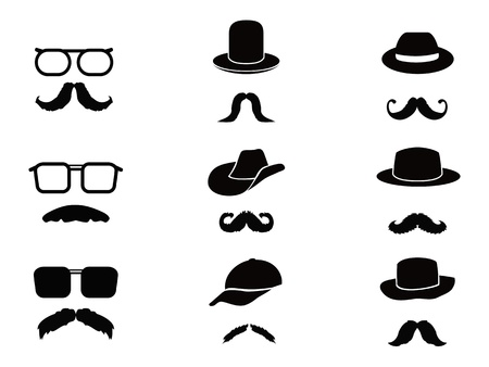 traits: collection of Invisible man with mustache ,glasses and hats on white background Illustration