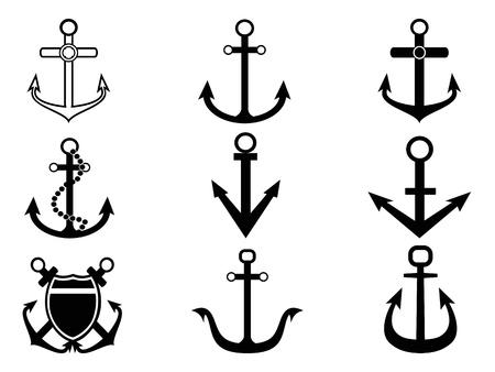 ancre marine: ic�nes d'ancrage isol�e de fond blanc