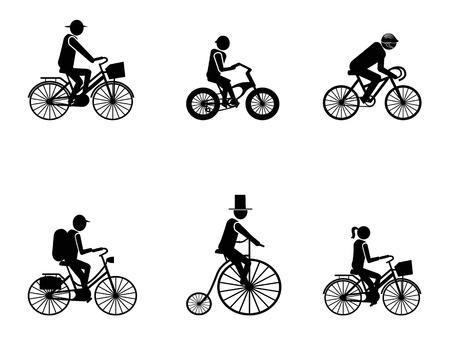 riding helmet: aislados bicicleta jinetes Siluetas sobre fondo blanco