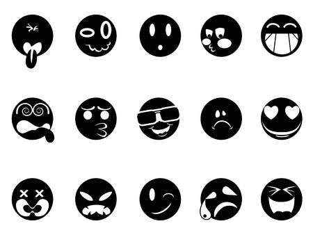 aislados iconos de la cara de negro sobre fondo blanco