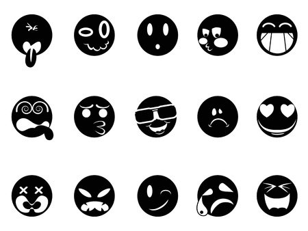 happy people faces: isolated black face icons on white background