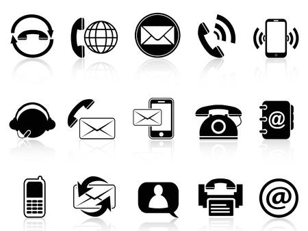 telephone headsets: iconos contacto aislado conjunto de fondo blanco