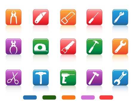 handsaw: isolated handwork tools icons button from white background