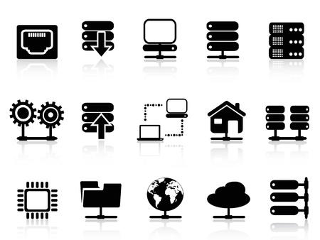 Servidor aislado y el icono de la base de datos de fondo blanco
