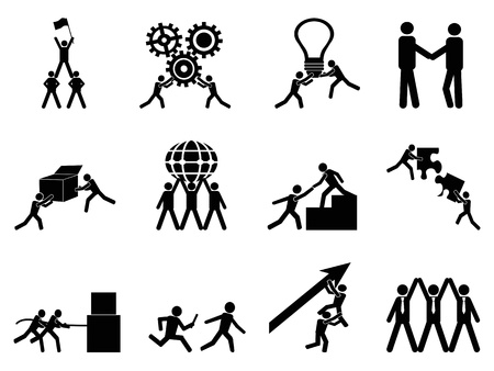 climbing up: isolated teamwork icons set from white background