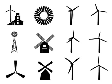 collection of windmill icons on white background Ilustrace