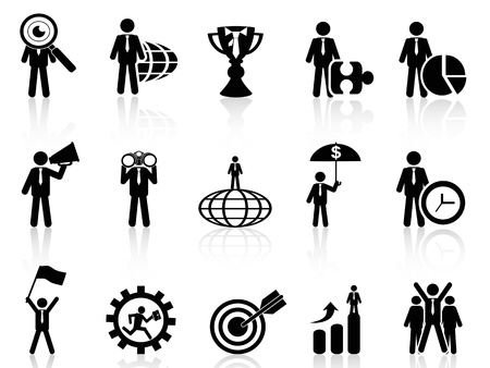 figure out: isolated business metaphor icons set from white background