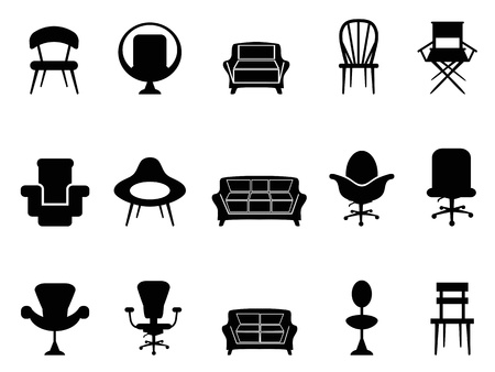 silla de madera: iconos silla aislados sobre fondo blanco