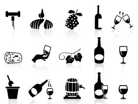 corcho: Iconos de la uva de vino aisladas fijadas en el fondo blanco
