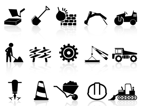 isolated heavy construction icons set from white background Çizim