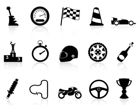 isolated motor race icons set from white background