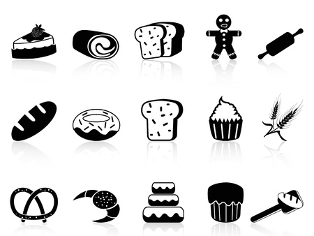 isolated bakery icons set from white background  向量圖像