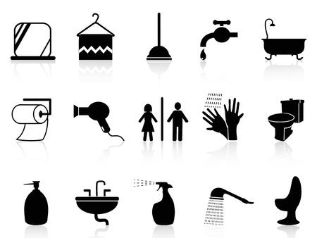 ванная комната: изолированных иконки Набор для ванной комнаты из белого фона