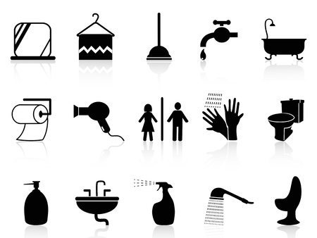 isolated bathroom icons set from white background   Vector