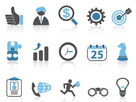 Iconos de negocios aislados sistema, serie azul de fondo blanco Foto de archivo - 22176284