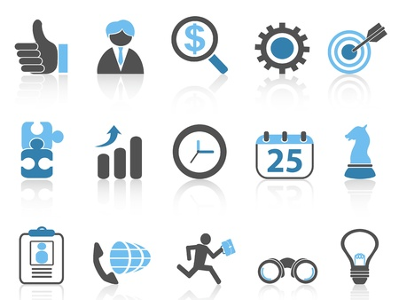isolated business icons set,blue series from white background   Vector