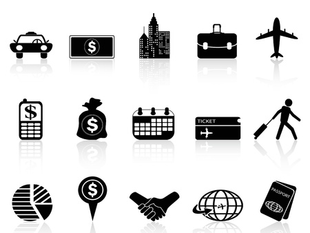 isolated business travel icons from white background    Vector