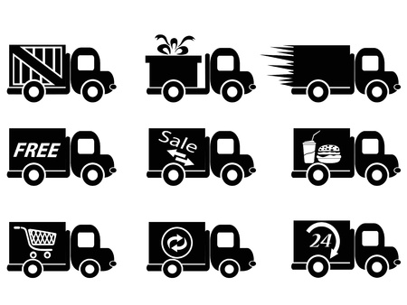 isolated delivery truck icons from white background Vector