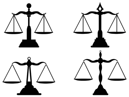 antique weight scale: isolated Justice scales silhouette from white background    Illustration