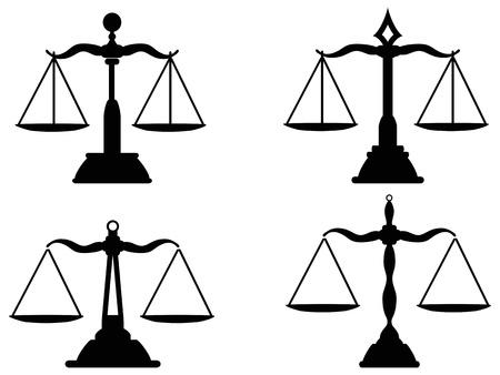 isolierten Gerechtigkeitskalen Silhouette aus weißem Hintergrund