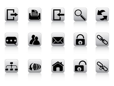 broken link: aislados del bot�n del Web e Internet iconos de fondo blanco Vectores