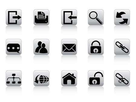 isolated web and internet button icons from white background   Vector