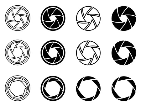 shutter aperture: isolated Camera shutter aperture icons from white background