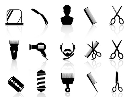 barber background: isolated barber tools and haircut icons set from white background