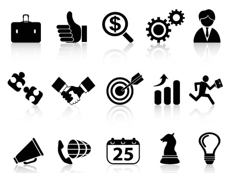 isolated black business icons set from white background