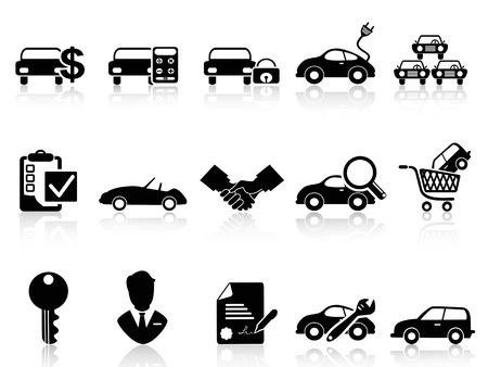 автомобили: изолированные черный автомобиль дилерский комплект из белом фоне иконки