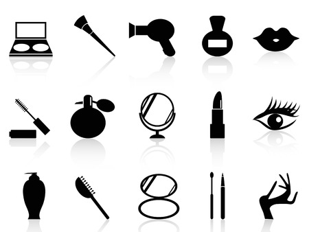 격리 된 검은 화장품과 흰색 배경에서 설정 메이크업 아이콘 일러스트
