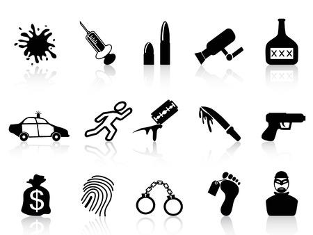 burglar: isolati icone crimine neri stabiliti dallo sfondo bianco