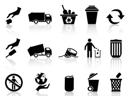 basura: iconos basura negras aisladas fijadas de fondo blanco