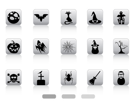 spider web icon: isolated Halloween button icons set on white background Illustration