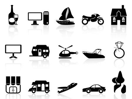 oorkonde: geïsoleerde zwarte eigenschap pictogrammen instellen van een witte achtergrond Stock Illustratie